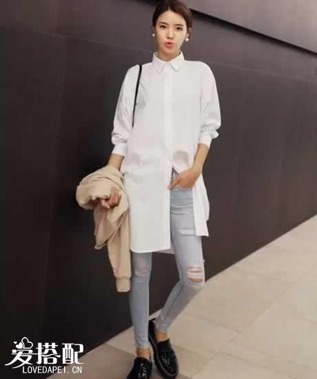 长款白色衬衫搭配